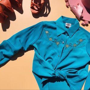 Vtg 90s Button Down Silk Cowboy Star Blouse SM
